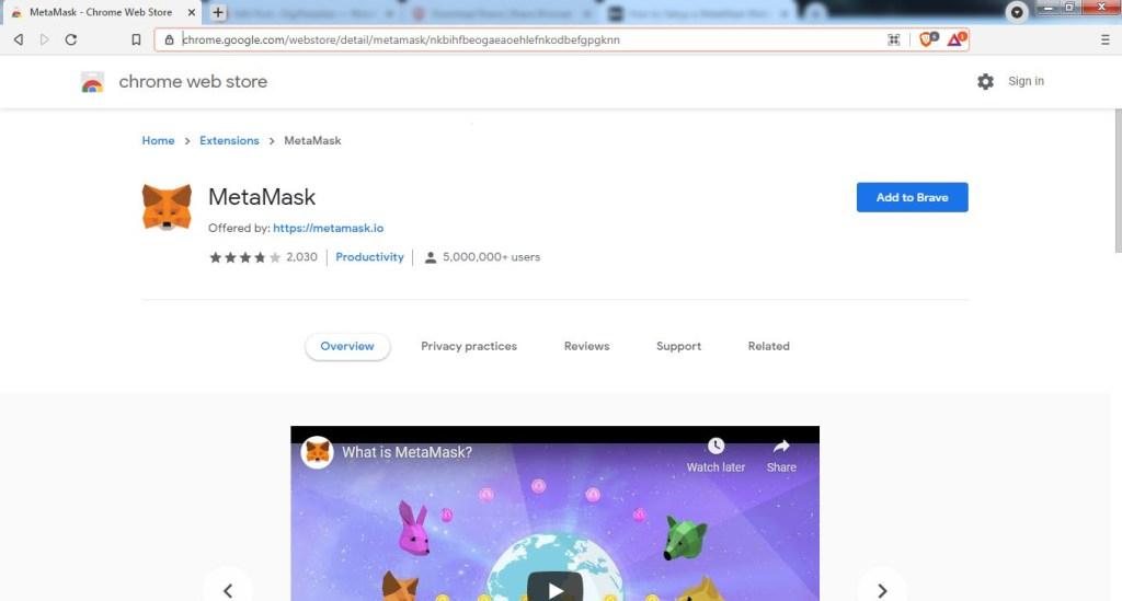 Extensión MetaMask para Google