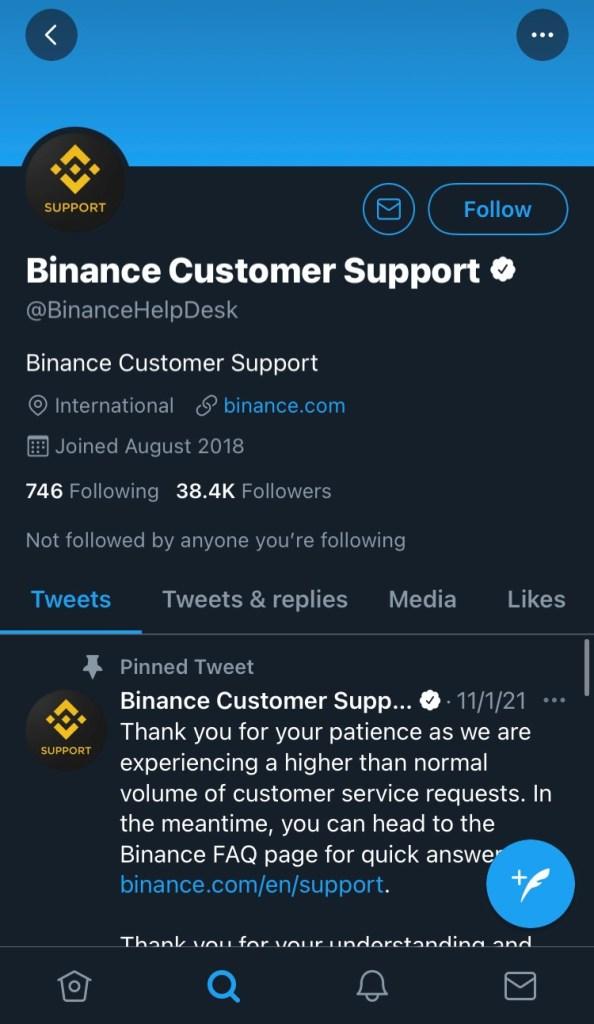como contactar con Binance